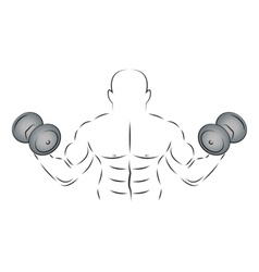Athlete with two dumbbells vector