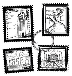 World landmarks stamps vector