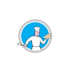 Chef with chicken spatula circle cartoon vector