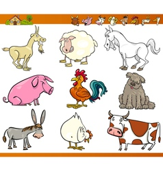Farm animals set cartoon vector