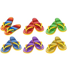 Six pairs of slippers vector