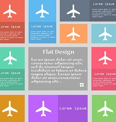 Airplane icon sign set of multicolored buttons vector