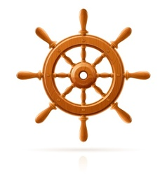 Ship wheel marine wooden vector