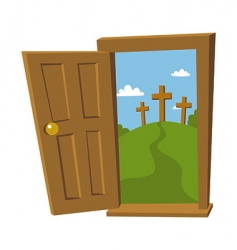 Door open to the cross vector