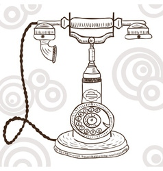 Old vintage telephone - retro vector