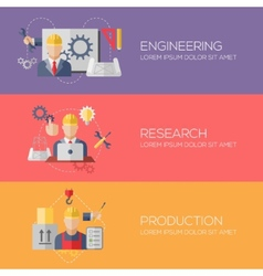 Flat design concepts for engineering research vector