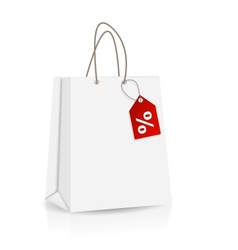 Empty shopping bag with sale label for advertising vector
