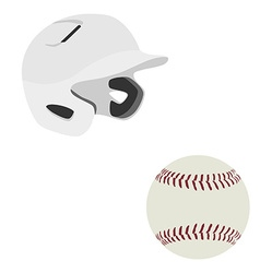 Baseball helmet and ball vector