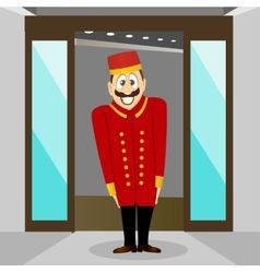 Smiling bellhop with mustache vector