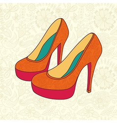 High-heeled vintage shoes with flowers fabric high vector