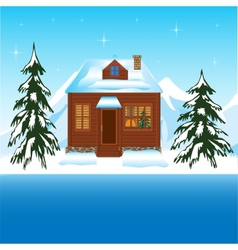 Beautiful house beside yard in winter vector