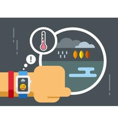 Weather application on smart watch vector