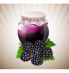 Jar of jam with blackberry and leaves vector