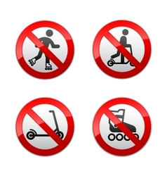 Set prohibited signs - scooter inline skates vector