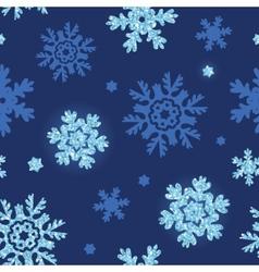Glitter snowflakes dark seamless pattern vector