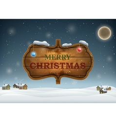 Christmas evening with wooden board vector