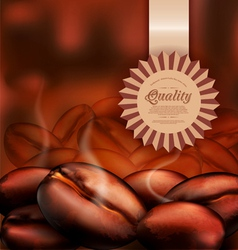 Background with coffee beans close-up vector