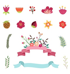 Set of happy easter and spring design elements vector