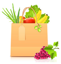 Isolated paper bag with vegetables vector