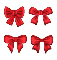 Set red gift bows isolated on white background vector