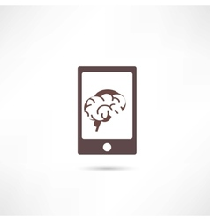Smartphone with brain on the screen vector