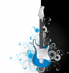 Guitar on a black-and-white background vector