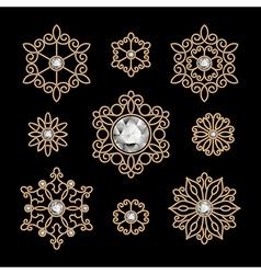 Gold jewelry set vector