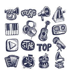 Sketch music icon element collection vector