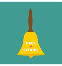 Big gold bell with handle back to school chalk vector
