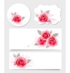 Set of gift cards and banners with beautiful vector