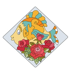 Fish rose vector