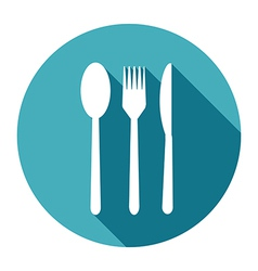 Knife fork and spoon icons set in flat style with vector