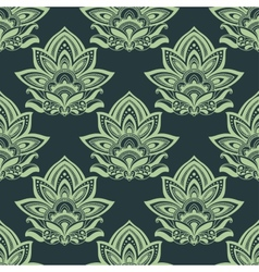 Seamless indian carved paisley green flowers vector
