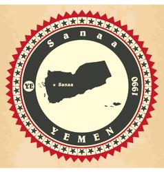 Vintage label-sticker cards of yemen vector