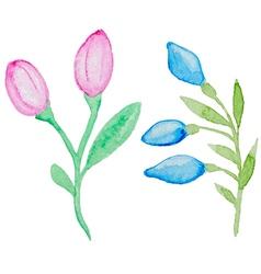 Watercolor flowering branch vector