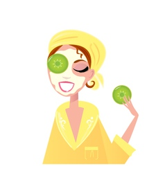 Skin care  girl having spa facial mask vector