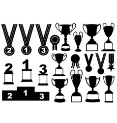 Trophies and medals set vector