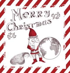 Christmas with retro santa claus vector