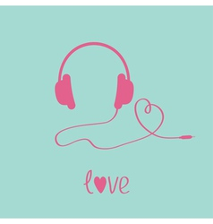 Pink headphones and cord in shape of heart vector