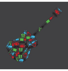 Musical instruments in guitar shape eps10 vector