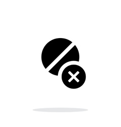 Pill icon with sign cancel on white background vector