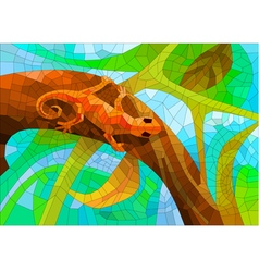 Stained glass with a lizard in the forest vector
