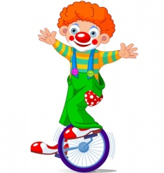 Clown on unicycle vector