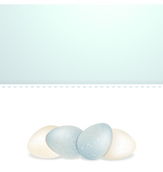 Easter white and blue speckled eggs and panel vector