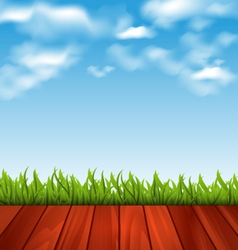 Freshness spring green grass and wood floor - vector