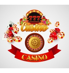 Casino background with cards chips craps and vector