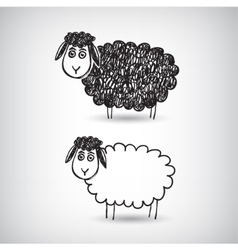 Hand drawn doodle cartoon sheep vector