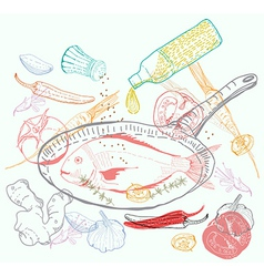 Background with taste fish dish vector