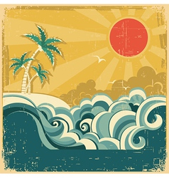Vintage nature tropical seascape vector