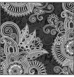 Hand draw ornate black and white floral pattern vector